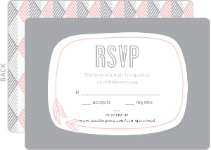 Pink Modern Geometric Pattern Wedding Response Card