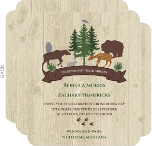 Woodgrain Animals Wedding Invitation