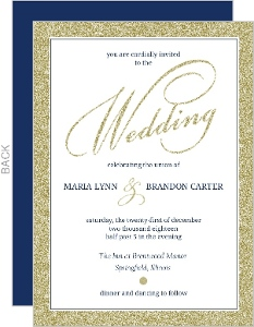 Faux Elegant Gold Glitter Wedding Invitation