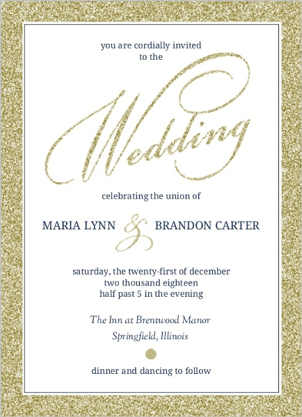 faux elegant gold glitter wedding invitation wedding invitations