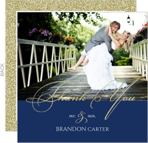 Faux Elegant Gold Glitter Wedding Thank You Card