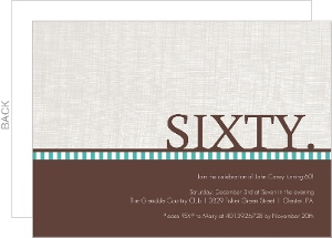 Brown and Turquoise Simple 60th Birthday Invitation