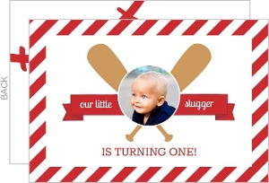 Red Baseball Bats 1st Birthday Invitation