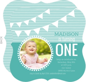 Turquoise Hanging Flags 1st Birthday Invitation