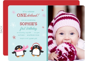 Turquoise Winter Penguins 1st Birthday Invitation
