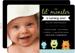 Green Lil Monster 1st Birthday Invitation