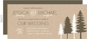 Green Kraft Pine Trees Wedding Invitation