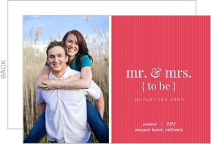 Modern Pink Stripes Engagement Announcement