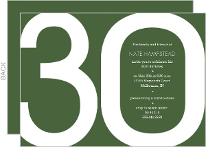 Modern Green 30th Birthday Invite