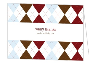Argyle Boy Baby Thank You Card