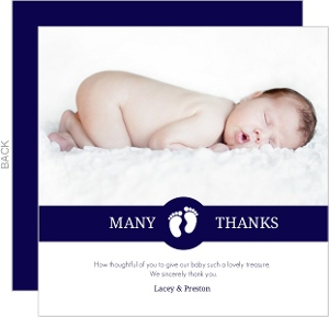 Navy White Stripes Baby Thank You Card