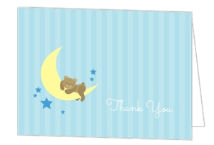 Twinkling Little Stars Moon Baby Thank You Card