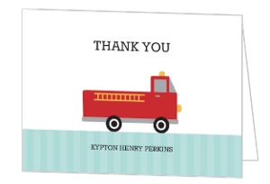 Sound The Alarm Fire Truck Birthday Thank You Card