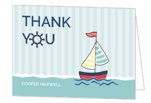 Pale Blue Striped Sailboat Birthday Thank You Card