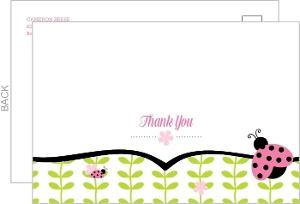 Floral Green Vines Birthday Thank You Card