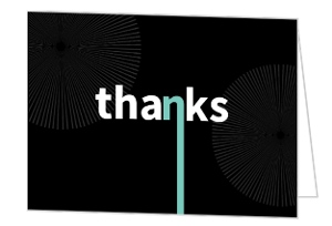Black Big Suprise Thank You Card