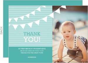Turquoise Hanging Flags Birthday Thank You Card