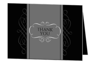 Black and Grey Formal Soiree Birthday Thank You Card