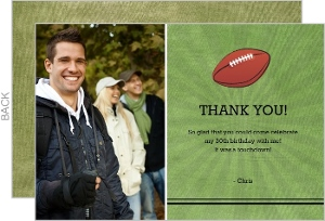 Green Yard Line Birthday Thank You Card