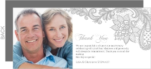 Intricate Gray Lace Anniversary Thank You Card