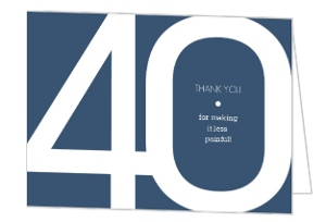 Modern Blue 40th Birthday Thank You Card