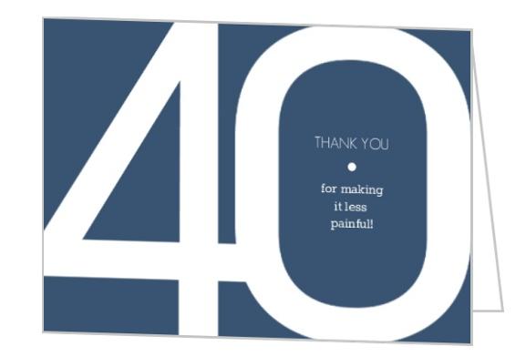 Modern Blue 40th Birthday Thank You Card