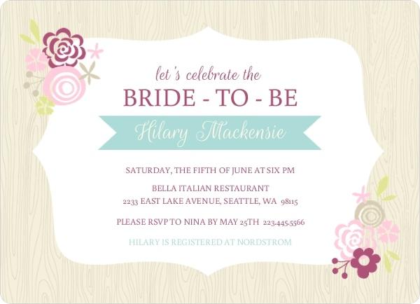 Frame floral woodgrain background bridal shower invitation for Bridal shower email invitations
