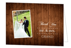 Rustic Wood Grain Photo Wedding Thank You Card