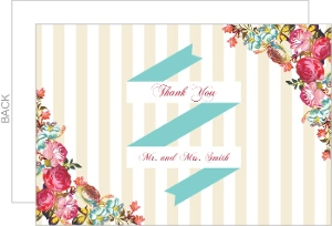 Cream Stripes Vibrant Floral Wedding Thank You Card