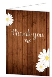 Daisy Woodgrain Anniversary Thank You Card