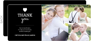 United States Cream Stripes Wedding Thank You Card