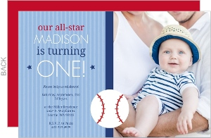 Blue Striped All Star First Birthday Invitation