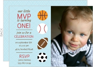 Sporty MVP Blue First Birthday Invitation