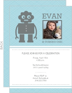 Little Gray Robot First Birthday Invitation