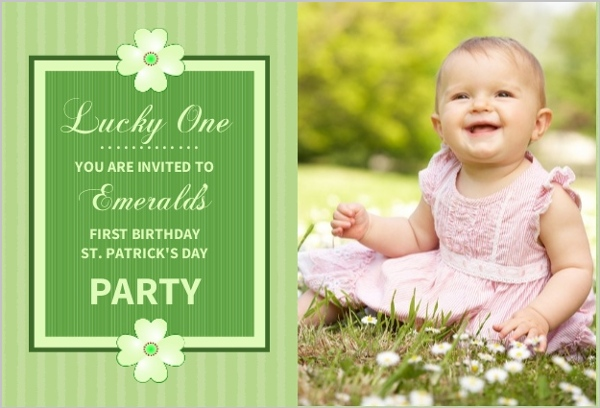 lucky one st patricks day first birthday invitation