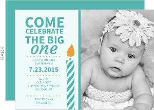 Yellow Big One Turquoise Candle First Birthday Invitation
