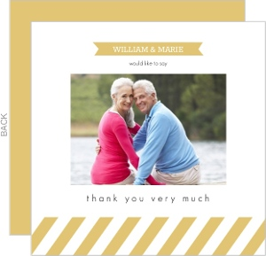 Gold Banner Stripes Anniversary Thank You Card