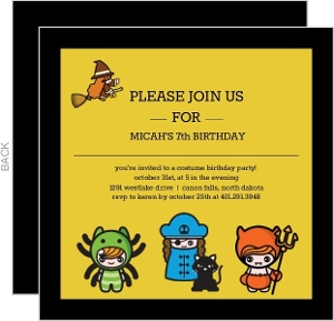 Little Ghouls Costume Birthday Party Invitation