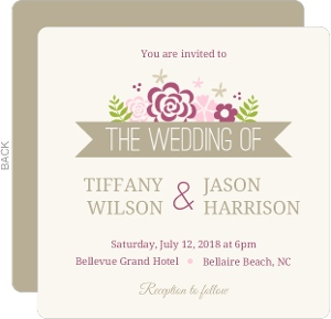 Pink Monogram Flowers Wedding Invitation