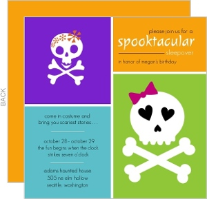 Spooktacular Sleepover Halloween Birthday Party Invite