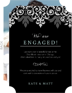 Gray White Flourish Engagement Announcement