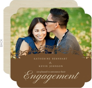 Tan Antique Brown Frame Engagement Announcement