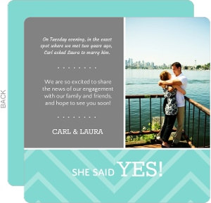 Mint and Gray Chevron Engagement Announcement