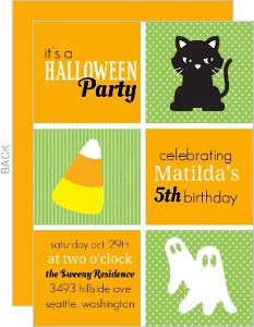 Black Cats and Ghosts Halloween Birthday Party Invitation