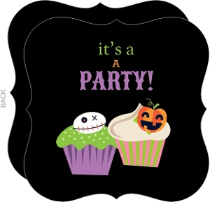 Cupcake Halloween Birthday Party Invitation