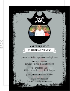 Pirate Hat Cut Out Kids Party Invitation