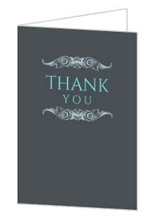 Gray and Teal Anniversary Thank You Card