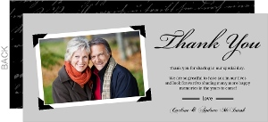Classic Gray Photo Anniversary Thank You Card