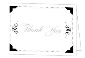 Gray Black Icon Anniversary Thank You Card