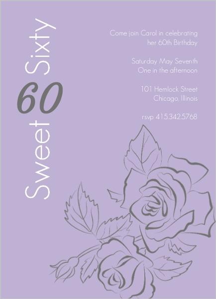 Sweet Rose Outline 60th Birthday Invitation